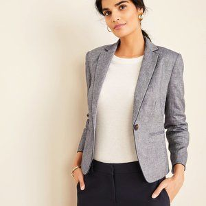 NWT Ann Taylor The Newbury Blazer - Piped Chambray